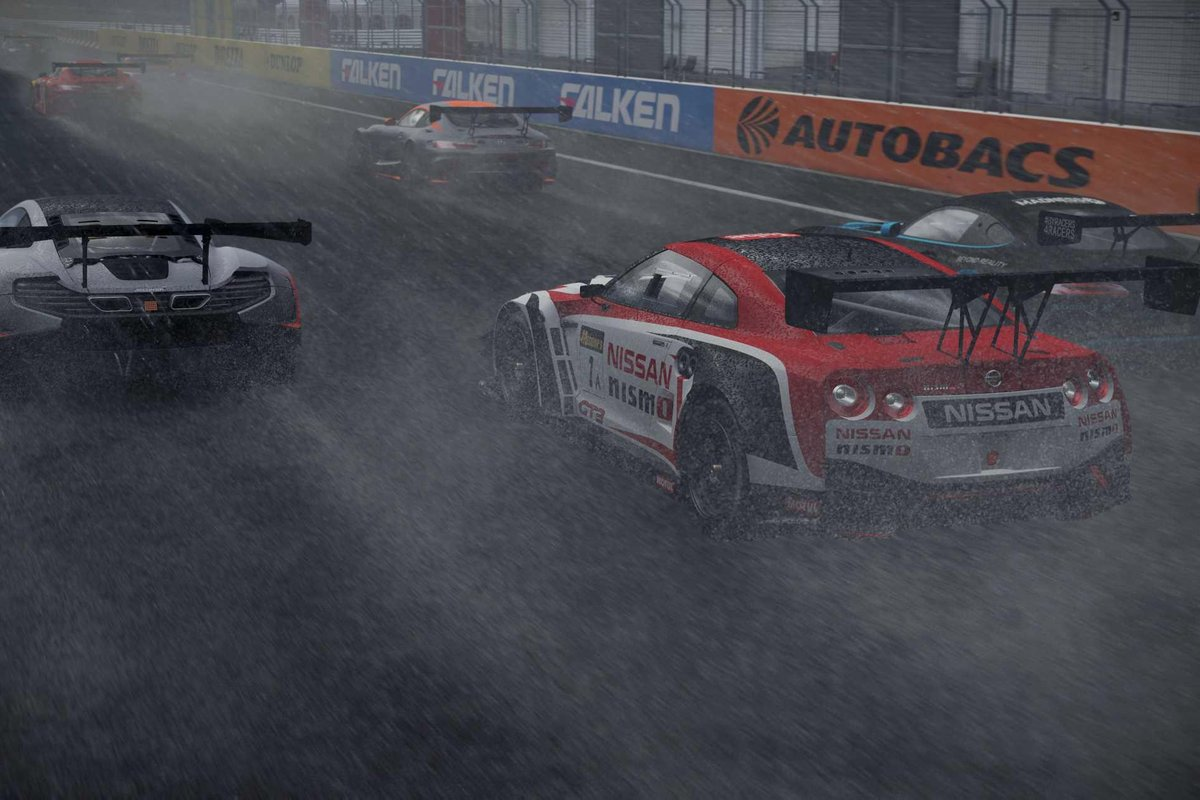 Project CARS 2 screenshot showing Fuji Speedway in rain